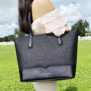 NWT Kate Spade Glitter Large Top Zip Tote Black